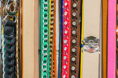 Fashion Belts (5). Collection of Colorful Belts on Rack (No Brand Names Royalty Free Stock Image