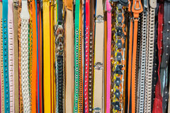 Fashion Belts (4). Collection of Colorful Belts on Rack (No Brand Names Royalty Free Stock Photography