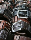 Belts of leather for sale in the store in Florence Italy. Fashion belts of leather for sale in the italian store in Florence Royalty Free Stock Photo
