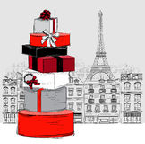 Fashion Big pile of wrapped gift boxes on Paris city background Royalty Free Stock Photo
