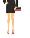 Fashion black dress pink shoes Royalty Free Stock Photo