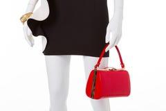 Fashion black dress with white basque. Royalty Free Stock Photos