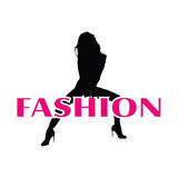 Fashion and black girl vector silhouette Royalty Free Stock Images