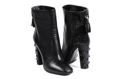 Fashion Black shoes, isolated on white background Royalty Free Stock Photo