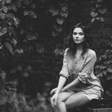 Fashion black and white portrait of young woman Stock Photography