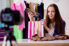The fashion blogger recording video for blog Royalty Free Stock Photo