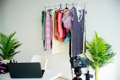 Fashion blogger workspace Royalty Free Stock Images