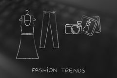 Fashion blogging: dress and jeans illustration with camera Stock Photo