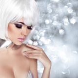 Fashion Blond Girl. Beauty Portrait Woman. Makeup. White Short H Stock Photo