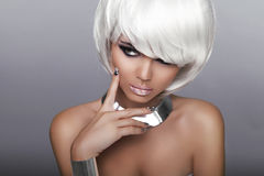 Free Fashion Blond Girl. Beauty Portrait Woman. White Short Hair. Iso Stock Image - 38344691