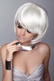 Fashion Blond Girl. Beauty Portrait Woman. White Short Hair. Iso Royalty Free Stock Photo