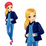 Girl In Denim Suit With Red Hat. Fashion blond girl dressed in denim suit with red hat and sneakersr stock illustration