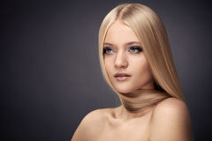 Fashion Blond Girl. Healthy Hair Royalty Free Stock Photo