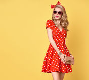Fashion Blond Girl in Red Polka Dots Dress. Outfit Stock Photography