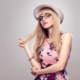 Fashion Blond Girl, Stylish glasses. Summer Outfit Stock Photography