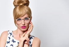 Fashion Blond Girl, Stylish glasses. Summer Outfit Stock Photos