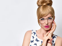 Fashion Blond Girl, Stylish glasses. Summer Outfit Stock Photo
