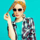Fashion blond girl in trendy hair accessories. Royalty Free Stock Photos