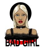 Fashion blond hair girl face with an inscription bad girl. Vector illustration. Fashion blond hair girl face with an inscription bad girl Royalty Free Stock Photo