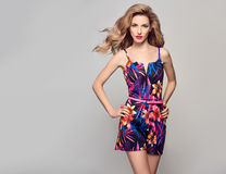 Fashion Blond Model in Summer Stylish Jumpsuit Stock Image
