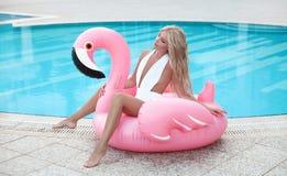 Free Fashion Blond Model Woman In White Bikini Posing On Pink In Royalty Free Stock Photo - 125911795