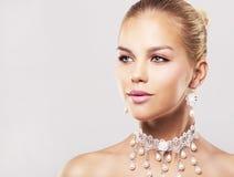 Fashion blond woman wearing dramatic makeup Stock Photo