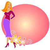 Fashion Blonde Girl Logo Pink royalty free stock photography