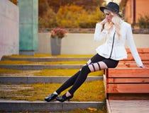 Fashion blonde girl outdoors Stock Image