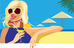 Fashion blonde girl, summer girl on sea background whit cocktail in hand. Vector illustration of fashion blonde girl, summer girl on sea background whit cocktail Royalty Free Stock Image
