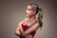 Fashion Blonde Model Portrait with creative Makeup stock image