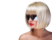 Fashion Blonde Model with sexy Sunglasses Royalty Free Stock Photos