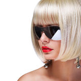 Fashion Blonde Model with Sunglasses Royalty Free Stock Photos