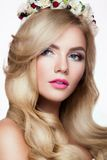 Fashion Blondie Model Portrait. Hairstyle. Haircut Royalty Free Stock Image