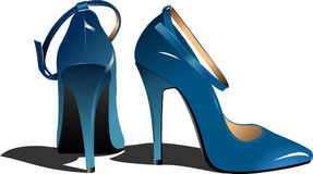 Fashion blue woman shoes Royalty Free Stock Photos