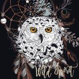 Fashion boho Illustration with dreamcatcher and owl. stock illustration