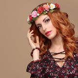 Fashion Boho Redhead woman in Summer Flower Wreath Stock Photography