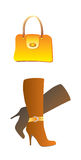 Fashion boot and bag. A vector illustration, woman boot and bag Stock Illustration