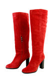 Fashion boots. red knee-high boots isolated Royalty Free Stock Photography
