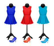 Fashion boutique background with colorful dresses and shoes. Vec Royalty Free Stock Photos