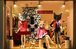 Fashion boutique display window with mannequins, store sale window, front of shop window. In front of boutique shop windows. The cat's heads are just decoration stock images