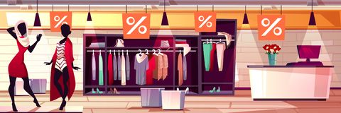 Fashion women boutique sale vector illustration. Fashion boutique interior vector illustration of women clothes and dresses sale. Womenswear mannequin on shop stock illustration