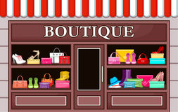 Fashion boutique. Picture of a fashion boutique with shoes and bags royalty free illustration