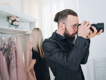 Fashion boutique professional photo shooting royalty free stock photo