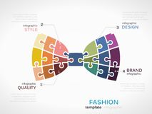 Fashion Bow Tie. Fashion infographic template with bow tie symbol model made out of jigsaw pieces Stock Photo