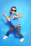 Fashion boy. Trendy boy on a blue background Stock Images