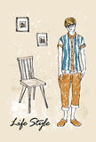 Fashion boy in sketch-style Stock Images