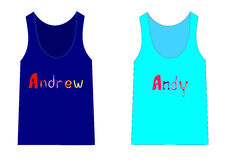 Fashion for boys shirts with the names of two of Andrew and Andy Stock Image