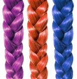 Fashion braid hair, three colored plaits isolated on white Stock Image