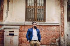 Fashion brard man. Fashion and stylish  handsome brard man outdors Royalty Free Stock Photo