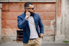 Fashion brard man. Fashion and stylish  handsome brard man outdors Royalty Free Stock Photography